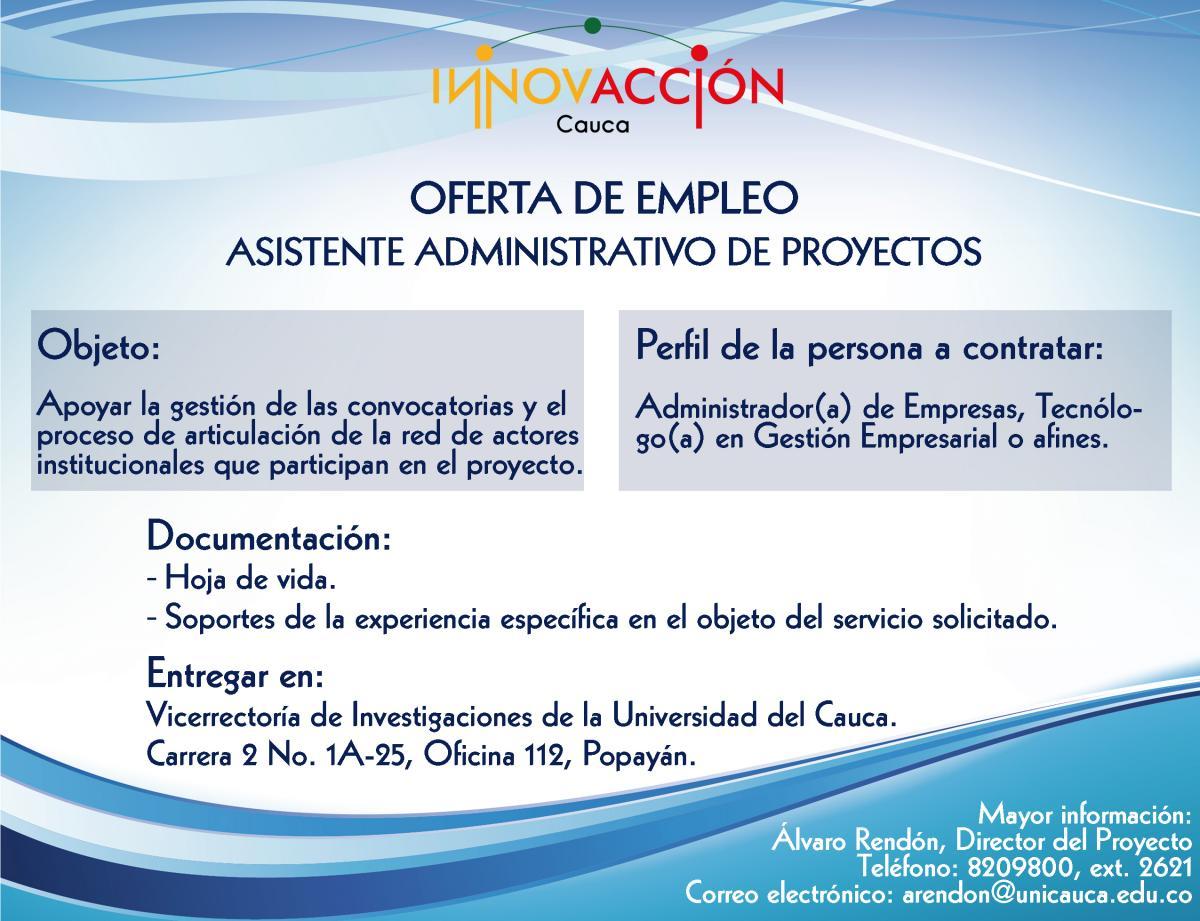 Oferta de empleo asistente administrativo de proyectos for Oficina de empleo ofertas